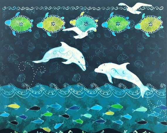 Dolphin Sea Turtle Fish Fabric Panel Ocean Beach~ Tropical Beach Dolphins Fabric Quilt Square Coastal Seashore Green Blue Ocean