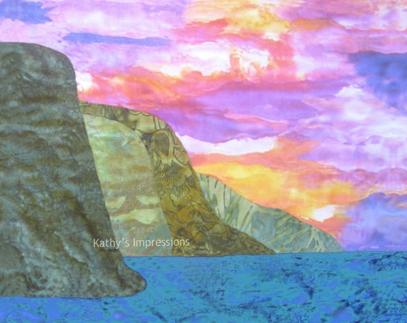 Na Pali Watercolor Sunset Fabric Quilt Square ~ Tropical Beach Kauai Hawaii Fabric Panel Coastal Landscape Sunset