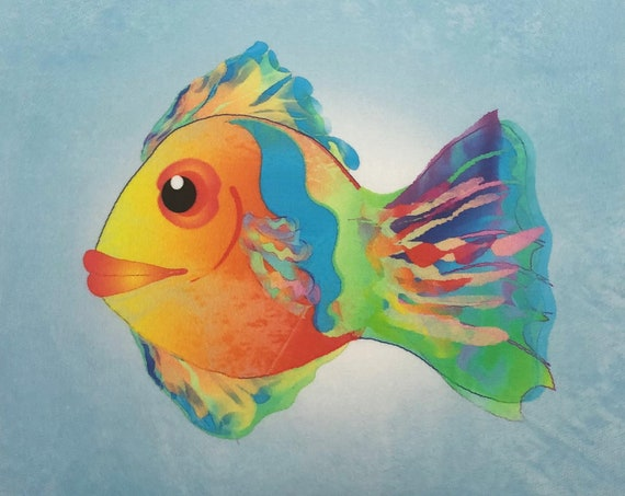 Watercolor Tropical Fish Fabric Panel ~ Fish Swimming Ocean Beach Fabric Quilt Square ~ Painted Colorful Fish Printed Fabric Panel