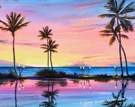 Maui Beach Sunset Palm Trees Tiki Torches Fabric Quilt Square~ Sunset Wailea Beach Hawaii Fabric Panel Grand Wailea Resort Humu Humu