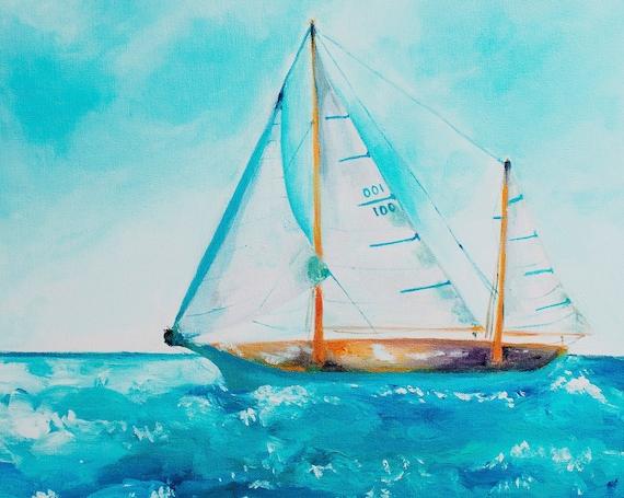 SAILBOAT Turquoise Blue Water Fabric Quilt Square, Beach Ocean Lake Sailing Fabric~ Schooner Sailboat Fabric Panel