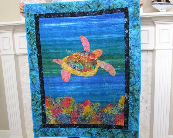 SEA TURTLE Baby Quilt, Sea Turtle Wall Hanging, Adult Lap Blanket, Quilted Ocean Reef Hawaiian Cotton Minky Fabric