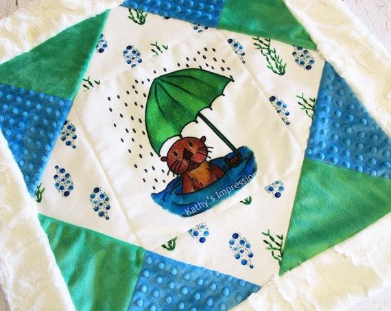 SEA OTTER Baby MINKY Blanket Umbrella Water Bubbles Rain Receiving Stroller Shower