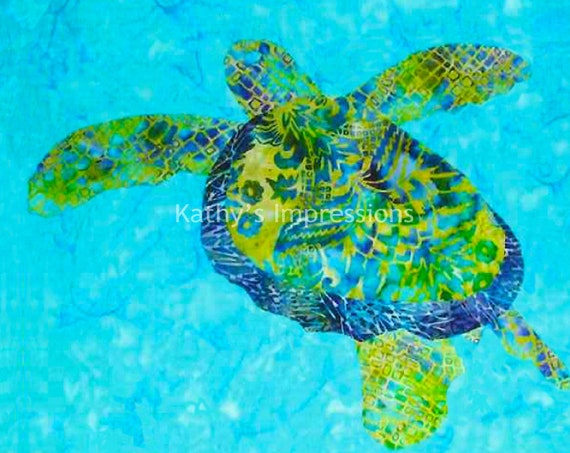 Sea Turtle Fabric, Coastal Fabric, Under the Sea, Beach House Fabric, Hawaiian, Honu Turtle, Fabric, Blue, Green, Fabric Panel,