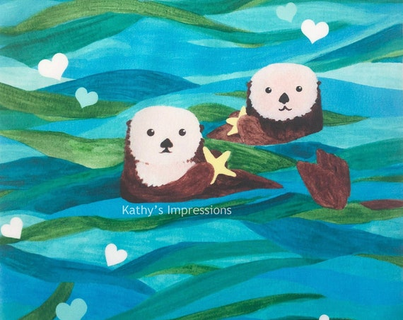 Watercolor Sea Otter Starfish Fabric Quilt Square ~ Tropical Ocean Otters Under the Sea Life Fabric Panel