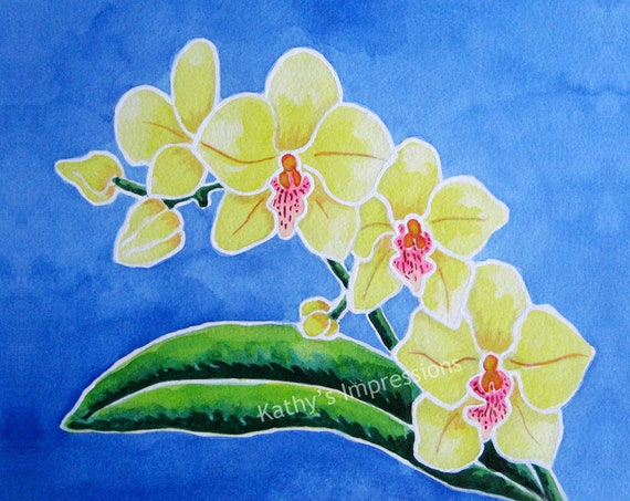 Tropical ORCHID Flowers Fabric Quilt Square Yellow Hawaii Paradise Block Floral Panel Blue Sky