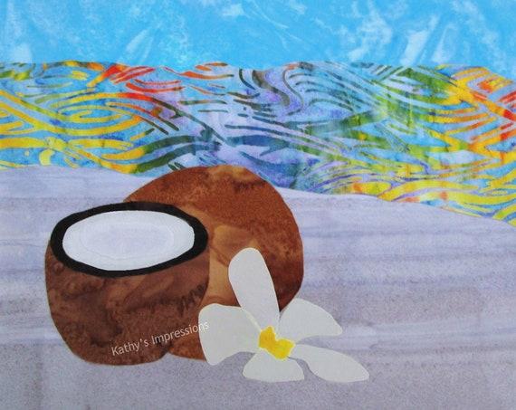 Tropical Beach COCONUT Plumeria Flower Cotton Sateen Fabric Quilt Square ~ Beach Blue Sky Colorful Ocean Waves Fabric