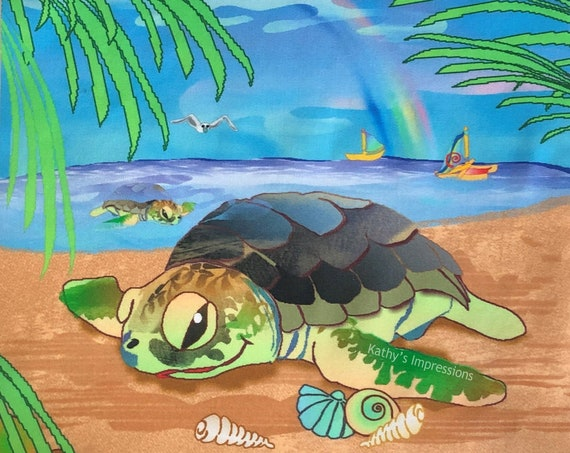 Kids Sea Turtle Beach Fabric Quilt Square ~ Sea Turtle Shells Rainbow Sailboat Palm Trees Ocean Sandy Beach Fabric Panel Girls Boys