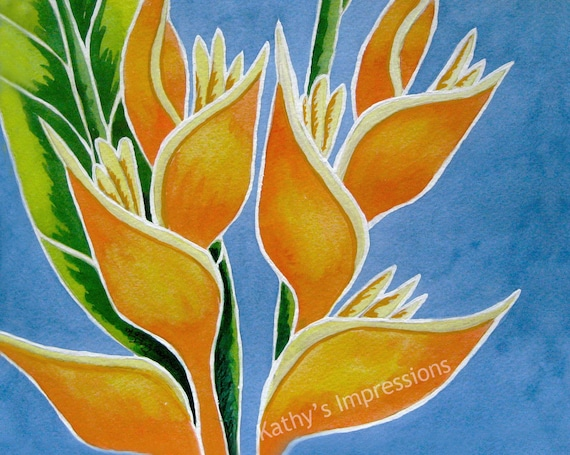 Tropical HELICONIA Flowers Fabric Quilt Square Paradise Orange Lobster Claw Hawaii Floral Panel