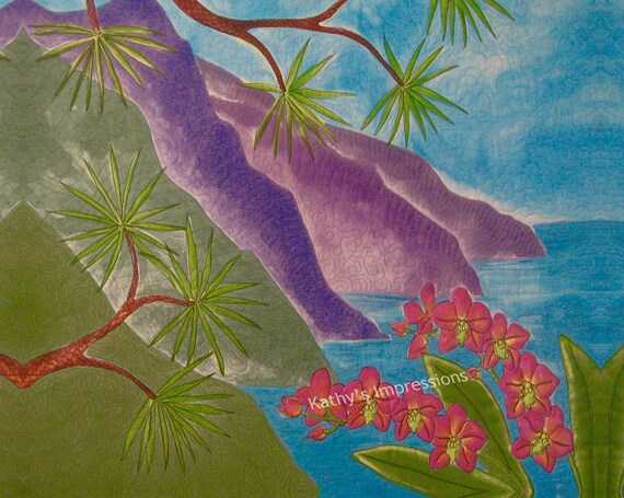 HAWAIIAN COAST Orchids Fabric Quilt Square Panel Purple Mountains Na Pali Dream Turquoise Sky Ocean Water