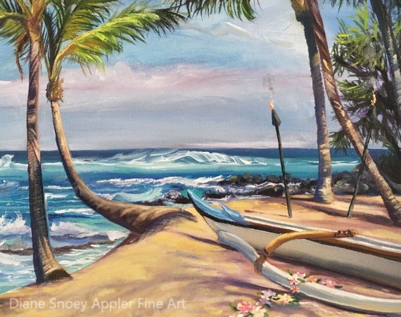 Mama's Fish House Kuau Beach Maui Fabric Quilt Square~ Hawaiian Beach Outrigger Canoe Plumeria Lei Tiki Torches Fabric Panel
