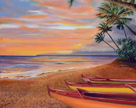 Lahaina Canoe Beach Maui Fabric Quilt Square~ Hawaiian Beach Sunset Fabric Panel~ Outrigger Canoe Palm Trees Beach Fabric