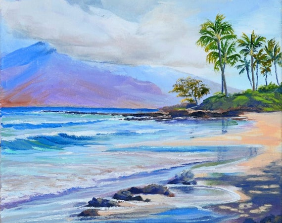 Polo Beach Morning Wailea Maui Fabric Quilt Square~ Hawaiian Beach Paradise Palm Trees Ocean Fabric Panel