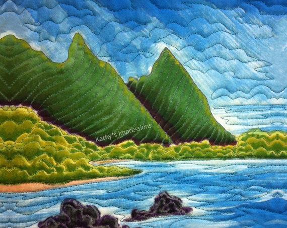 Bali Hai Beach Fabric Quilt Square Hawaii Tropical Paradise Coastal Kauai Panel Blue Sky Mountains Lava Rocks