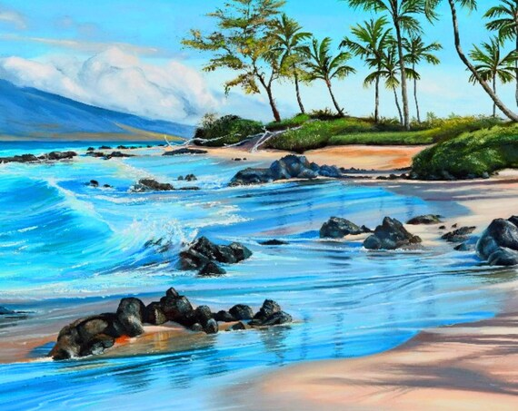 Idyllic Hawaiian Beach Maui Fabric Quilt Square~ Morning on Keawakapu Beach Kihei Wailea Fabric Panel~ Palm Trees Ocean Lava Rocks Fabric