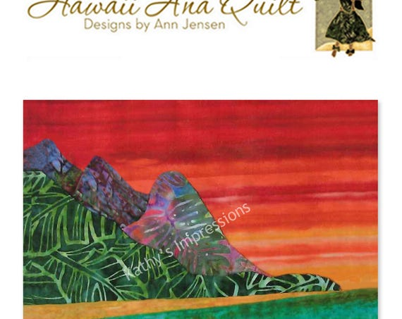 Tropical BALI HAI Beach Quilt Pattern Sand Mountains Ocean Hawaii Batik Applique