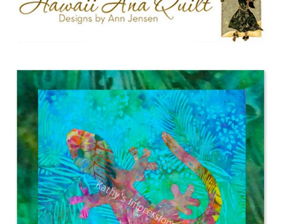 Tropical Hawaiian GECKO Quilt Pattern Lizard Hawaii Batik Applique