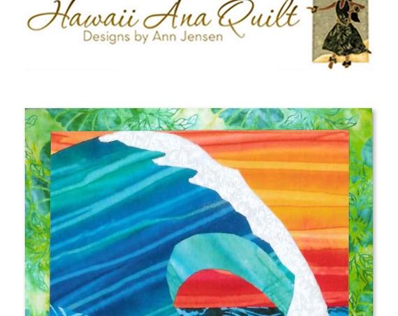 Ocean Wave Quilt Pattern Surf Pipeline Hawaii Batik Applique Surfing