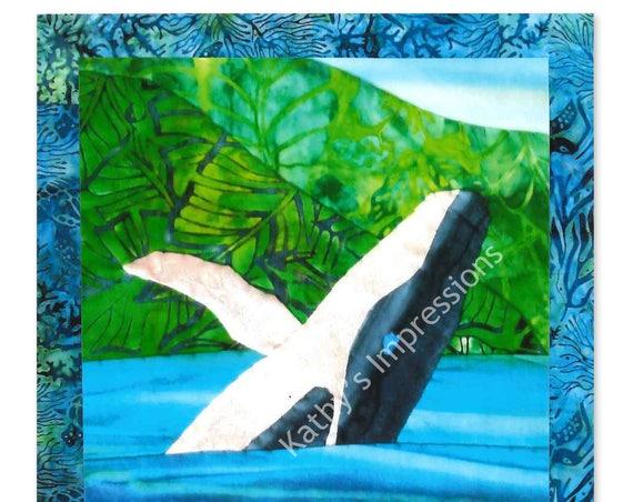 HUMPBACK WHALE Quilt Pattern Jumping Breaching Ocean Water Hawaii Tropical Batik Applique