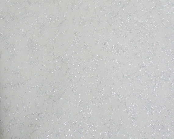 GLIMMER Fairy Frost Remnant Cut Michael Miller Shimmer Fabric ~ White Cotton Silver Metallic Glitter Accents Fabric Panel