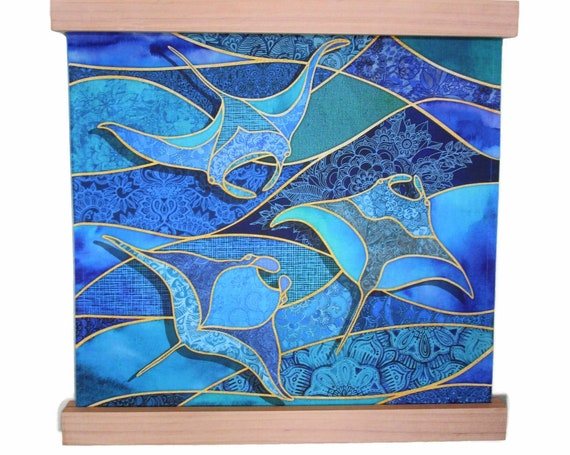 MANTA RAYS Ocean Waves Beach Fabric Wall Hanging Wood Frame Hanger ~ Manta Rays Watercolor Stained Glass Look Fabric Wall Hanging