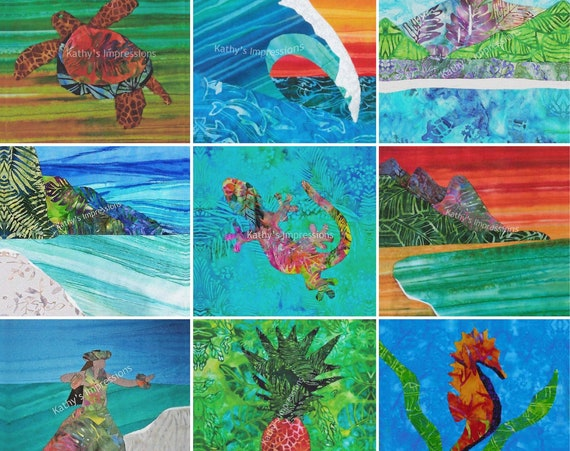 CLOSEOUT SALE Fabric Quilt Square Tropical Beach Hawaiian Block~ Sea Life Landscapes Fabric Panel~ Regular Colors