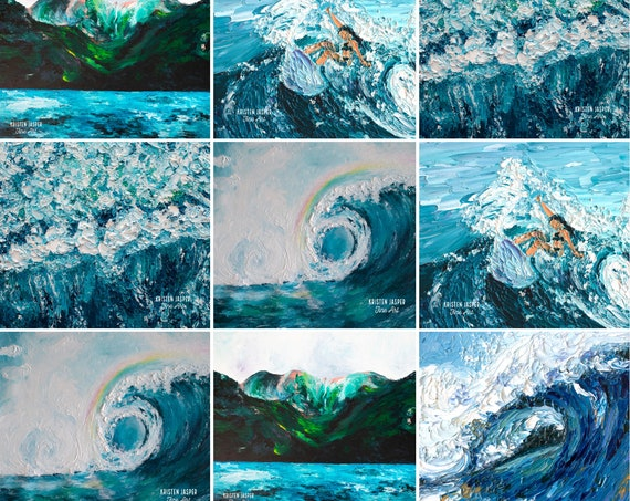 Surfer Girl WAVES Surf's Up Wholecloth Fabric Panel Cheater Quilt Top~ Tropical Beach Wave Ocean Water Seashore Sea Foam Coastal Fabric