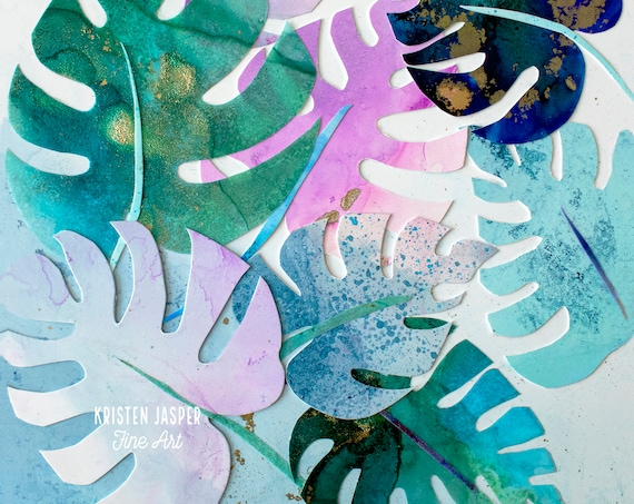 Palm LEAVES Fabric Quilt Panel Tropical Beach Coastal Green Blue Pink Colorful~ Number 4 in ALCOHOL INK Collection