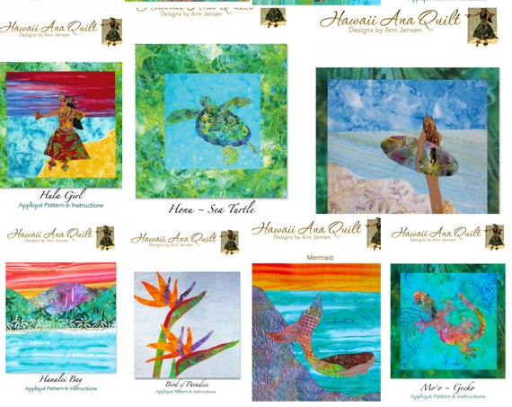 Tropical Hawaiian Quilt Pattern Your Choice Batik Art Applique~ Sea Turtle Hula Dancer Surfer Wave Mermaid Beach Coast