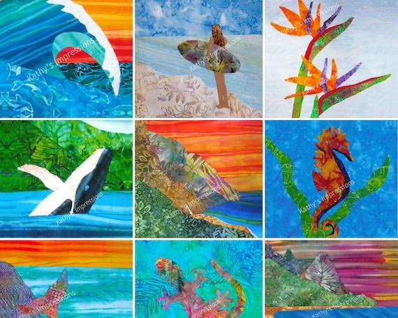 RETIRED Wholecloth Fabric Panel Tropical Beach Hawaiian Uncut Square Set Cheater Quilt Top- Surfer Mermaid Hula Dancer Ocean Wave
