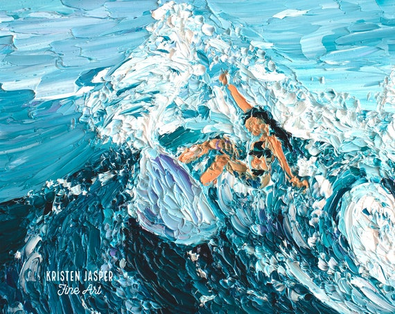 Surfer Girl Fabric Quilt Panel, Extreme Surfing Fabric, Surfer Rip Curl, Ocean Wave Fabric, Hawaiian Surf Fabric ~ No 2 PAINTED WAVES