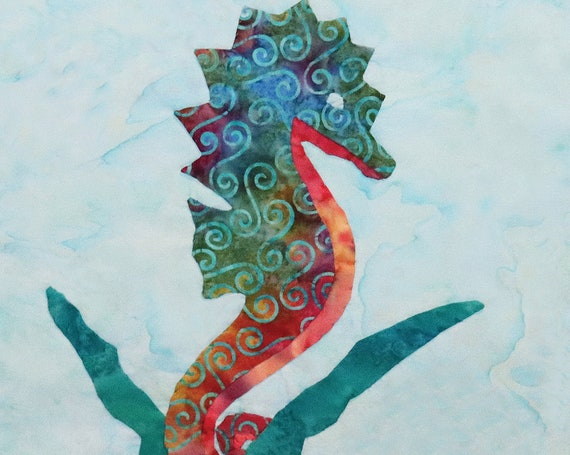 Tropical SEAHORSE Fabric Panel Block Colorful Swirls Ocean Seagrass Hawaii Organic Cotton Quilt Square