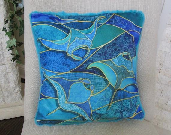 "MANTA RAYS Velvet Minky Pillow Cover, Beach Ocean Manta Rays Coastal Tropical Hawaiian Pillow~ Fits 17"" Pillow Form"
