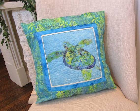 Quilted Green Blue Sea Turtle Pillow Cover~ Hawaiian Honu Sea Turtle Batik Fabric Pillow Cover