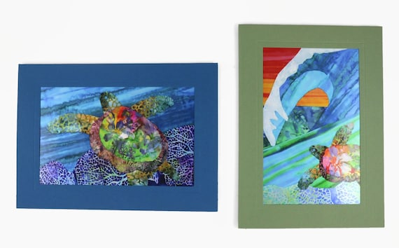 Sea Turtle Note Cards, Seahorse Note Cards, Sea Life Note Cards, Beach Ocean Turtles Colorful Cards, Tropical Hawaiian Note Cards
