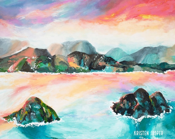 Lanikai Beach Hawaii Fabric Quilt Panel Kailua Oahu Sunset Mountains Twin Islands One of Most Beautiful Beaches in World