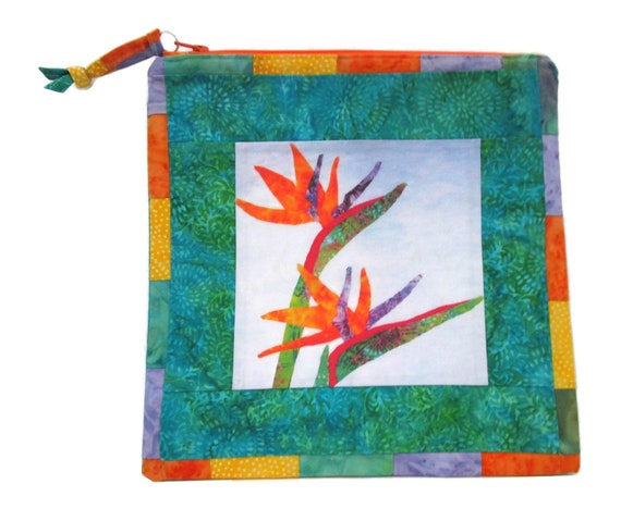 Bird of Paradise Zipper Pouch, Batik Fabric Zipper Pouch, Tropical Makeup Cosmetic Bag, Quilted Zipper Pouch, Large Zipper Pouch