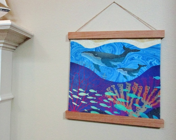 Humpback WHALES Ocean Fabric Wall Hanging Wood Frame Hanger ~ Whales Fish Coral Ocean Waves Beach Sand Velvet Fabric Panel