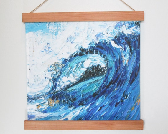 Ocean Wave Surf's Up Beach Fabric Wall Hanging Wood Frame Hanger~ Tropical Beach Ocean Wave Surfing Surfer Fabric Wall Hanging