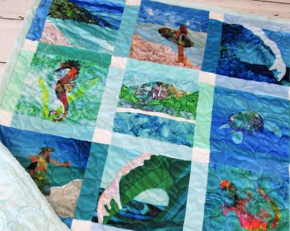 Shades of Paradise Surfer Girl Hawaiian MINKY Baby Quilt Ocean Wave Hula Dancer~ Tropical Beach Sea Turtle Blue Green Modern Minky Quilt