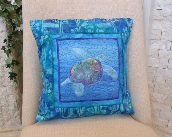 Quilted Sea Turtle Blue Pillow Cover Surfboards Hibiscus Flowers~ Hawaiian Honu Sea Turtle Batik Fabric Tropical Pillow Cover