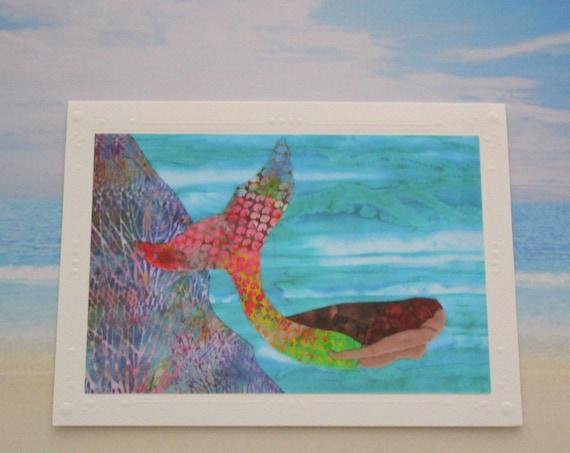 Beautiful Mermaid Note Card Tropical Reef Beach, Hawaiian Mermaid Note Card, Mermaid Under the Sea Card, Birthday, Thank You