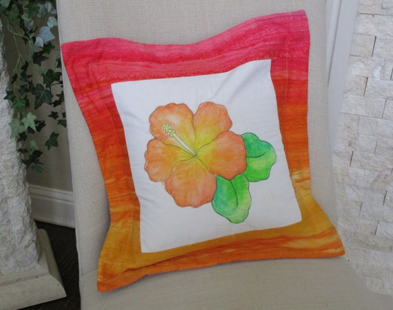 Peach Orange HIBISCUS Flower Pillow Cover, Tropical Hibiscus Quilted Painted Fabric Pillow Case Orange Pink Yellow
