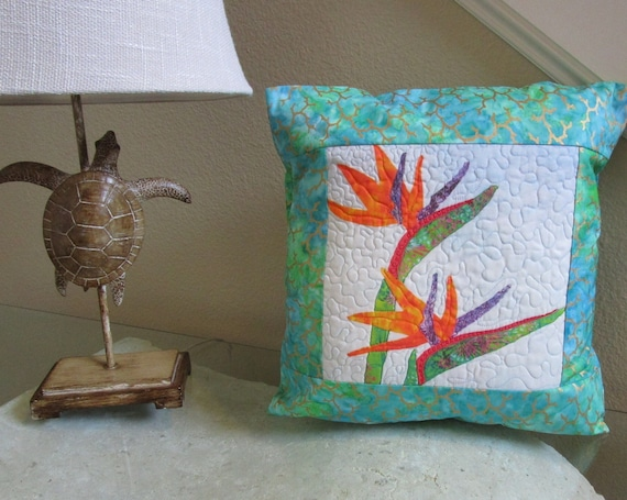 Quilted Bird of Paradise Flowers Pillow Cover~ Tropical Bird of Paradise Batik Fabric Pillow Cover Orange White Green