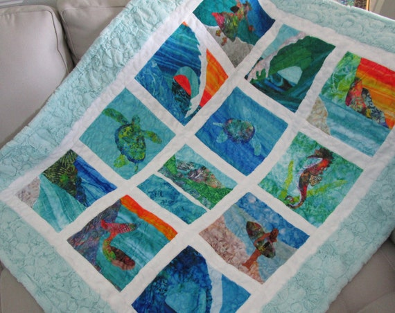 "Choice of MINKY Fabric Quilt Square 10"" Set or Block ~ Tropical Beach, Under the Sea, Hawaiian ~ To Make Baby or Adult Quilt Blanket"