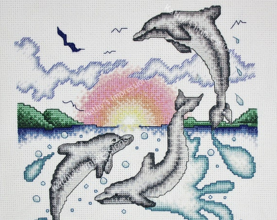Three DOLPHINS Fabric Quilt Panel Playing at Sunrise Sunset Jumping Water Splashing Birds Flying~ Looks like Cross Stitch