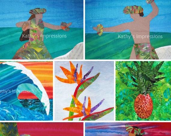 Hawaiian 8x10 Photo Print Hula Dancer Ocean Wave Coastal Sunset Bird of Paradise Flowers Pineapple~ Metallic or Metallic Linen 8x10 Print