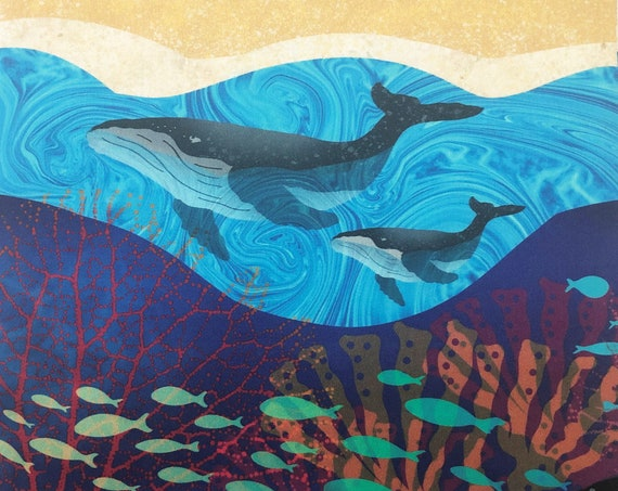 Humpback WHALES Ocean Fabric Panel  ~ Whale Fabric Quilt Square Panel ~ Whales Fish Coral Ocean Waves Beach Sand Fabric