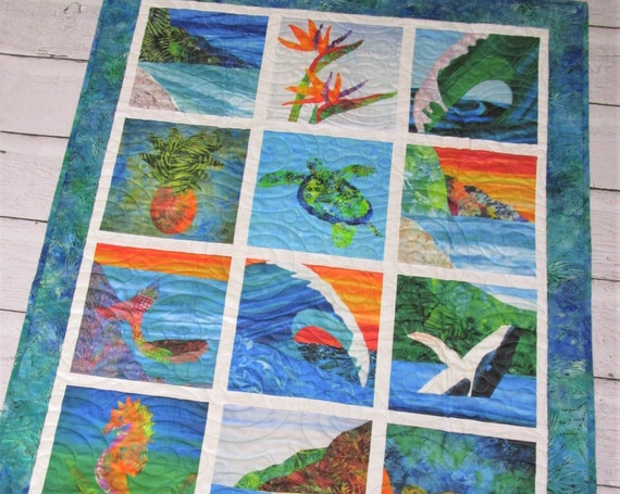 Tropical Beach UNDER THE SEA Modern Baby Quilt ~ Hawaii Sea Turtle Mermaid Whale Seahorse Ocean Wave Quilted Wall Hanging or Baby Quilt