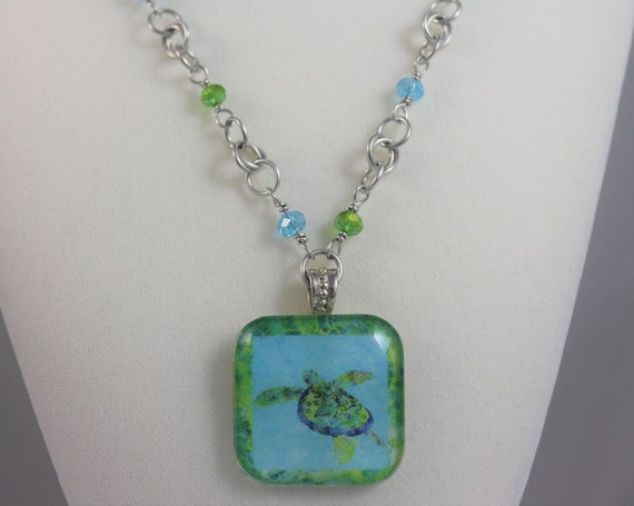 Sea Turtle Necklace Beach Pendant - Hawaiian Turtle Coastal Tropical Blue Green Ocean Necklace